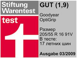 Тест шин Goodyear OptiGrip Stiftung Warentest